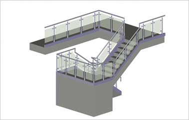 3D solid CAD view of the balustrade design for the steria building in Hemel Hempsted