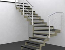 Concept art for a custom designed stone clad steel staircase