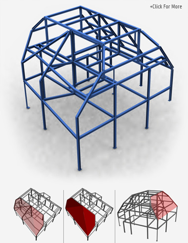 A complicated steel structure for a residential property made from box section and columns