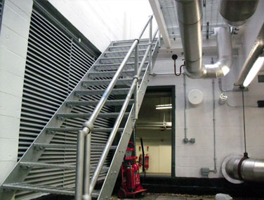 A view of the galvanised Access Stairs and Balustrade to access the Plant Room deck