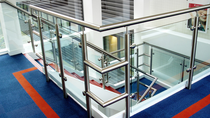 Architectural glass and stainless steel balustrade and handrails