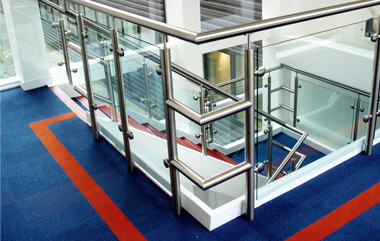 Stainless Steel Balustrades installed on a busy stairwell at the Steria Building in Hemel Hemsted
