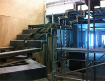 A view of the steel structure for a feature staircase