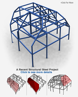 A 3D view of a building structure constructed by HDM