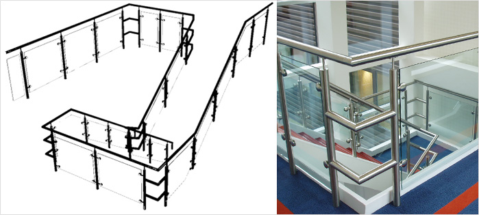 An example of a 3D concept drawing provided to a client and the finished installed stainless steel and glass balustrade at the Steria building in Hertfordshire