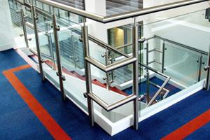 A Stainless Steel balustrade with glass panels